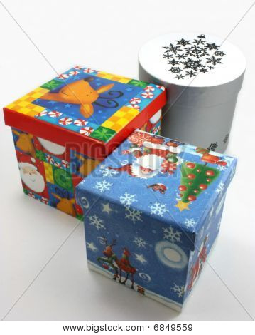 Christmas gift boxes blue, red and white sorted