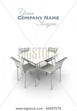 Table and chairs in metal and white plastic