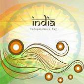 Beautiful floral design in Indian National Flag colors with stylish text India on national flag colors for 15th of August, Indian Independence Day celebrations.  poster