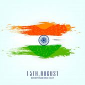 Beautiful concept for 15th of August, Indian Independence Day celebrations with ashoka wheel on blue background.  poster
