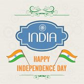 Stylish poster, banner or flyer design with badge and flags on abstract brown background for 15th of August, Indian Independence Day celebrations.  poster