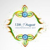 Shiny flower design in national flag colors with ashoka wheel on grey background for 15th of August, Indian Independence Day celebrations.  poster