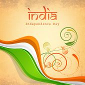 Poster, banner or flyer design with beautiful floral and waves in national flag colors on beige background for 15th of August, Indian Independence Day celebrations.  poster