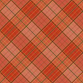 Abstract Pattern with Plaid Fabric on a bright orange background. Seamless vector illustration. poster