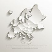 Europe political map card paper 3D natural vector individual states separate poster