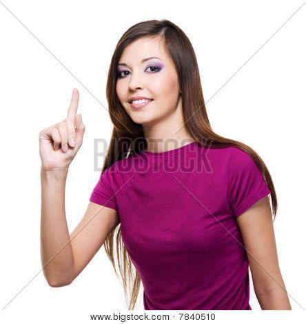Piękna kobieta z prezentowaniem