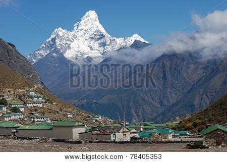 Khumjung Village And Ama Dablam (6814 M) Peak In Nepal
