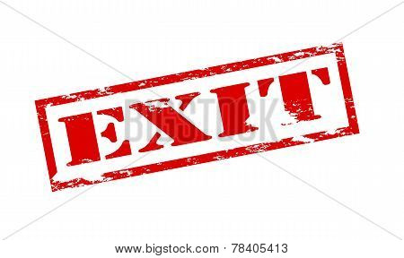 Rubber stamp with word exit inside vector illustration poster