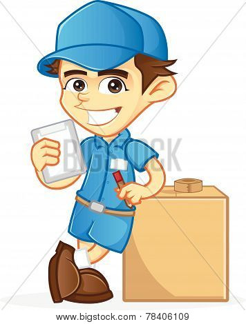 Deliveryman leaning on package