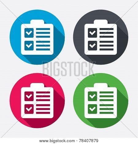 Checklist sign icon. Control list symbol.