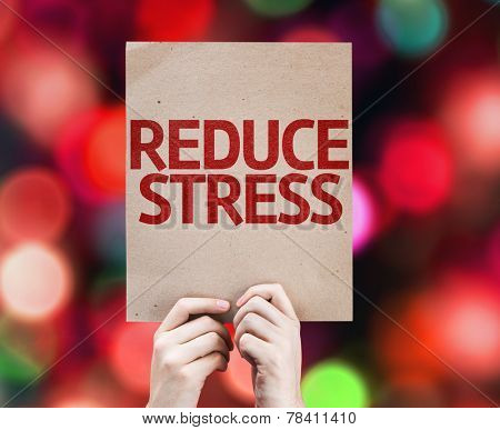 Reduce Stress card with colorful background with defocused lights
