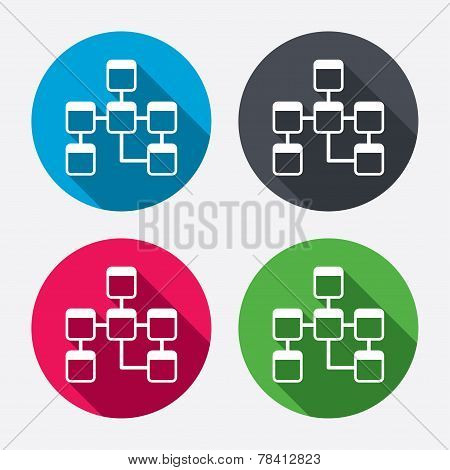 Database sign icon. Relational database schema symbol. Circle buttons with long shadow. 4 icons set. Vector poster