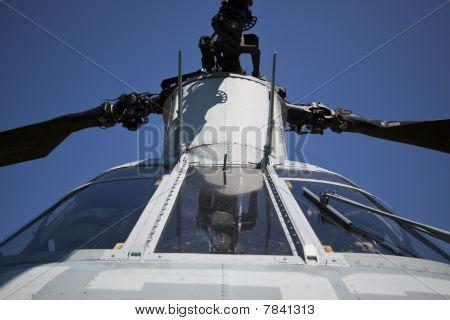 Helicoptor cockpit.