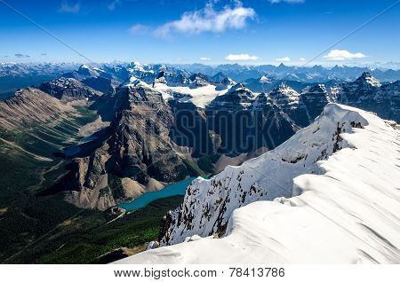Mountains Range View From Mt Temple With Moraine Lake, Canada