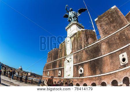 castel santangelo from outside in rome, italy