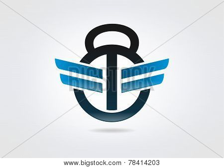 Fitness center kettlebell logo