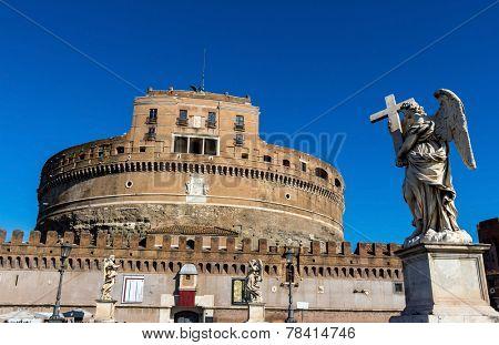 castel santangelo from outside in rome italy
