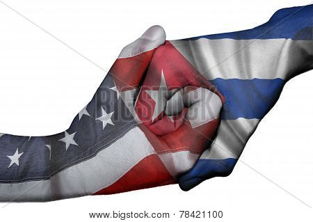 Handshake Between United States And Cuba