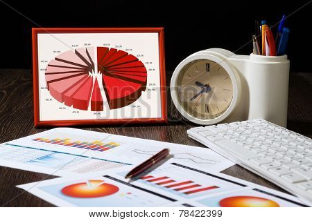 Close up of office workplace with paper documents