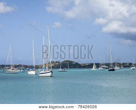 View of Simpson Bay and boats, St Martin, Caribbean