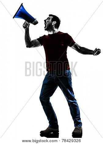 one man protestor angry protesting with megaphone silhouette isolated in white background