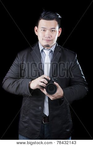 Young Asian Man Holding Dslr Camera Take A Photography By Low Key ,low Light White Dark Background T