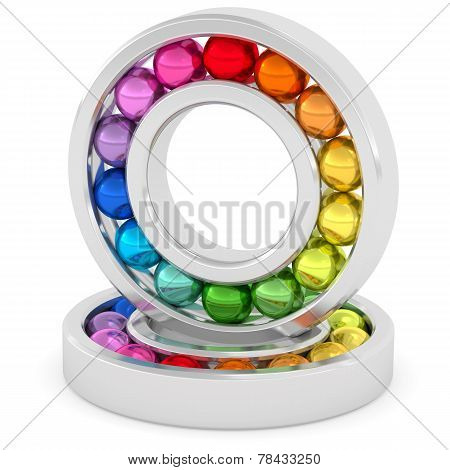 Bearings With Colorful Balls On White Background