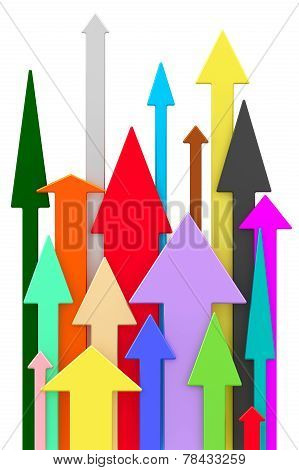 Different Colorful Arrows Directed Upwards On White Background