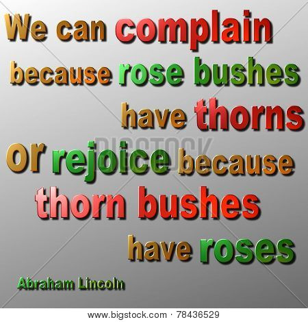 Complain or Rejoice quote - Abraham Lincoln