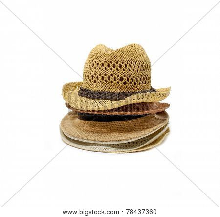 Stacked of antique Panamanian straw hat