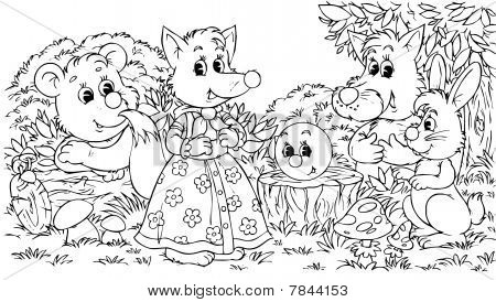Roly-Poly, Bear, Fox, Wolf and Hare