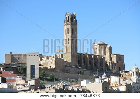 Panorama of Lleida. In the background the Seu (Old Cathedral). Catalonia Spain. poster