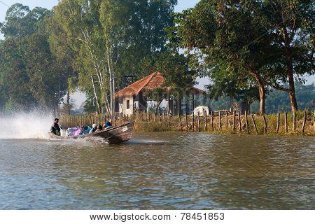 People Transportation Wooden Long Boat