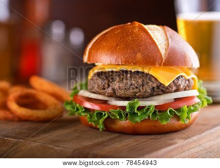 Gourmet Cheeseburger Pretzel Bun