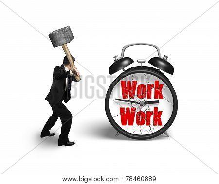 Businessman Hand Holding Sledgehammer Hitting Work Clock With Broken Glass