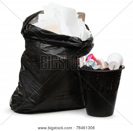 Full Wastebasket And Plastic Bag