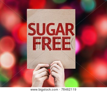Sugar Free card with colorful background with defocused lights