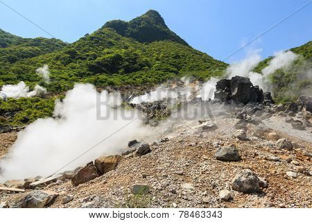 Owakudani valley ( volcanic valley with active sulphur and hot springs in Hakone Kanagawa Japan) poster