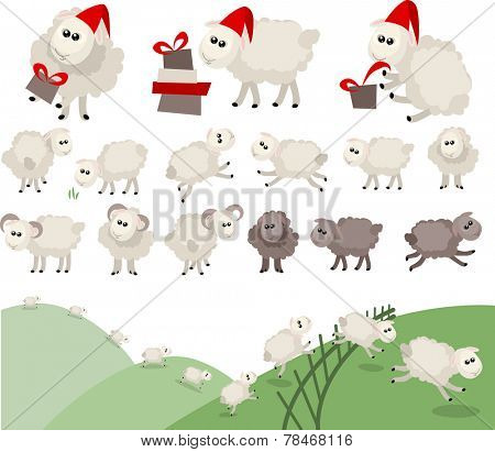 Sheep in santa caps. Different sheep isolated.