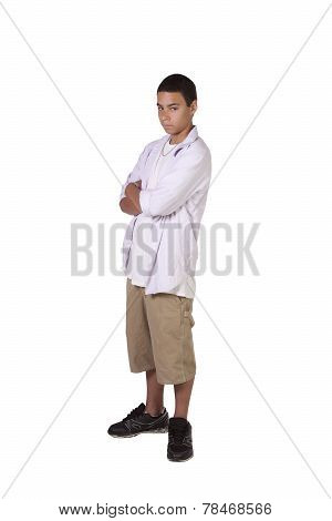 Hispanic Boy With His Arms Crossed