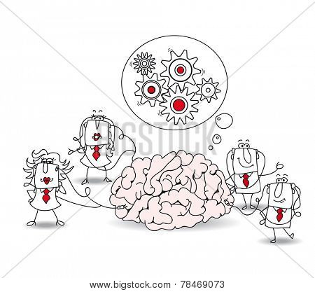 The business team and the brain. Metaphor of collective conscience or a metaphor of a brainstorming. A team is connected at a brain poster