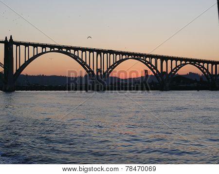 Morning sunrise under the bridge