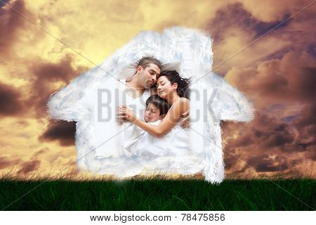 Nice familiy sleeping together against green grass under cloudy sky