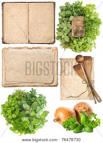 Kitchen Utensils, Old Cookbook, Pages And Herbs
