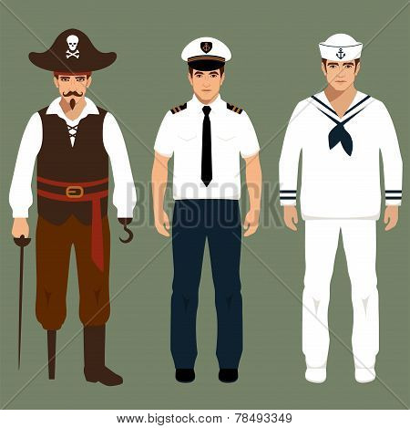 pirate, captain and sailor