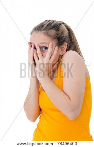 woman hiding face timid on white background poster