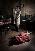 Killer with gun next to a dead woman body lying on the floor film noir scene. poster