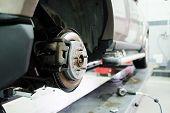 Front Disk brake assembly on a modern car. Brake job in progress poster