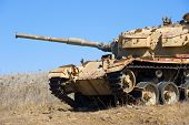 Old centurion tank of the yom kippur war close to the syrian border on the Golan Heights in Israel poster