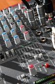 Audio mixer equipment in studio in closeup poster